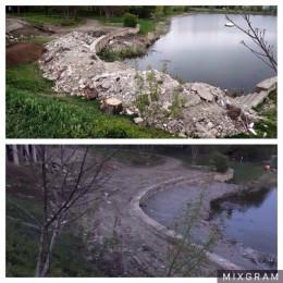 """У Чернівцях будівельне сміття з території парку """"Жовтневий"""" прибрали, щоправда в озеро"""