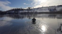 На Буковині врятували двох лебедів, які примерзли до криги на озері