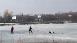 У Чернівцях чоловіки врятували рибалку, який посеред озера провалився під лід (відео)