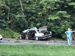 """У Чернівцях біля """"калинки"""" """"Audi"""" винесло на узбіччя і врізалось у дерево (фото)"""
