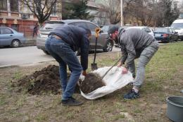 Сергій Обшанський посадив дерева на скандальній ділянці в центрі Чернівців