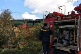 На Буковині загорівся вантажний локомотив (фото)